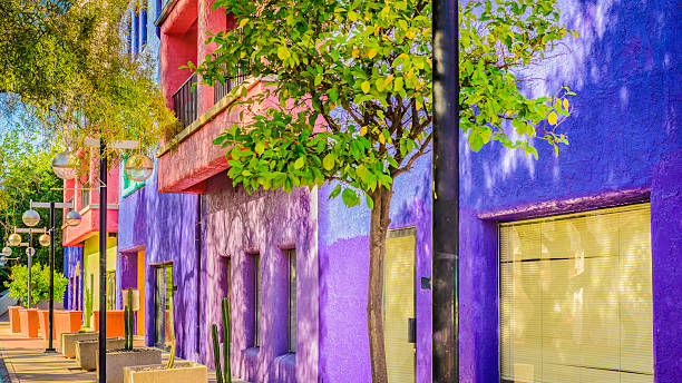 Downtown Tucson Arizona Colorful La Placita Village - Street View The La Placita is a multi-building complex located in downtown Tucson, Arizona. It serves many purposes such as housing and even retail. tucson stock pictures, royalty-free photos & images