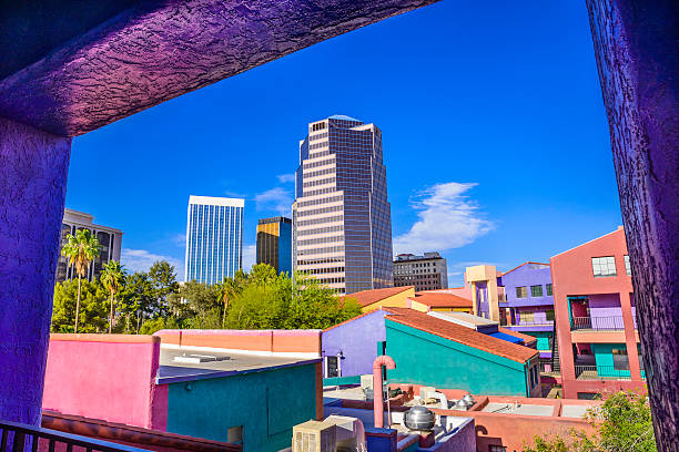 Downtown Tucson Arizona La Placita Village, Skyscrapers - window view Looking out of a balcony