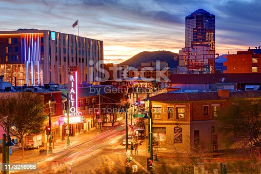 Tucson, Arizona, USA - March 1, 2019: Evening view of Congress Street in the heart of the downtown district in the second most-populated city in Arizona