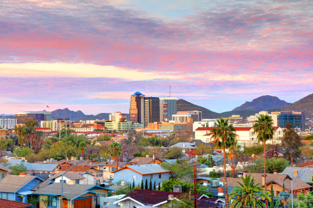 Downtown Tucson, Arizona Skyline Tucson is a city and the county seat of Pima County, Arizona, United States tucson stock pictures, royalty-free photos & images