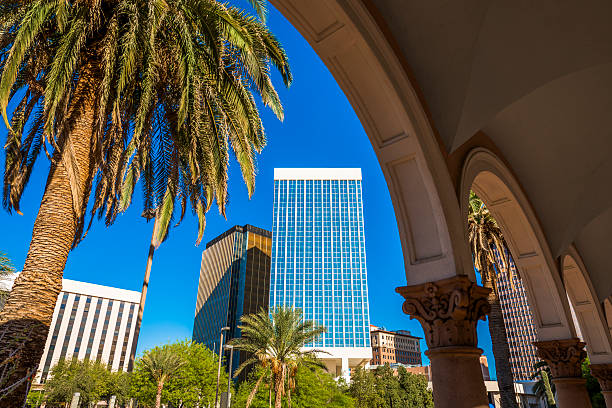 Downtown Tucson Arizona Skyscrapers, palm tree, capitol building arches Downtown Tucson Arizona Skyscrapers, palm tree, capitol building arches tucson stock pictures, royalty-free photos & images