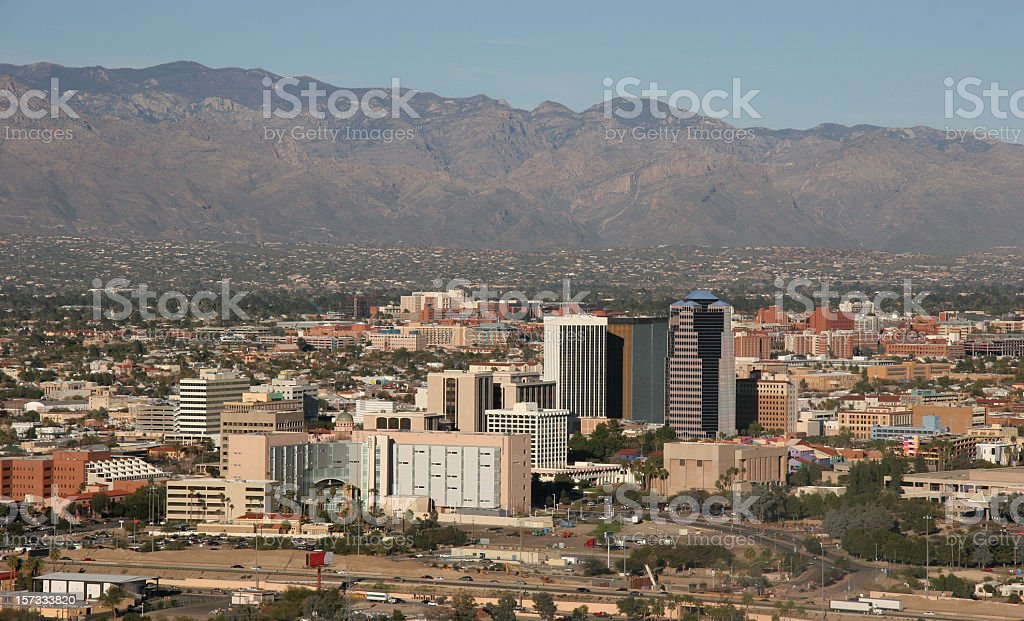 Downtown Tucson With Catalina Mountains In Background royalty-free stock photo