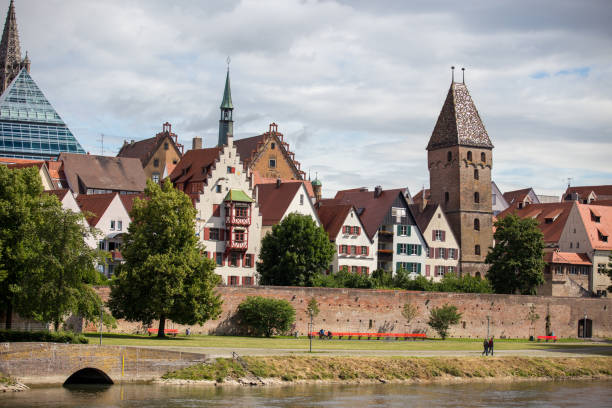 Downtown Ulm, at the Danube Downtown Ulm, at the Danube ulm stock pictures, royalty-free photos & images