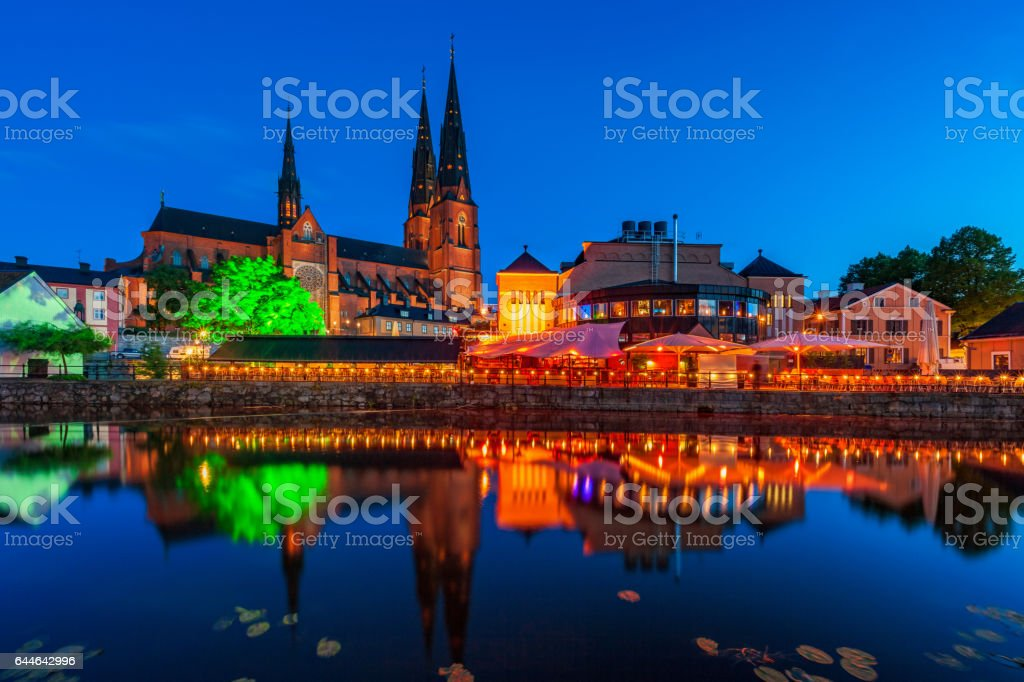 Downtown Uppsala Sweden reflecting in the Fyris river stock photo
