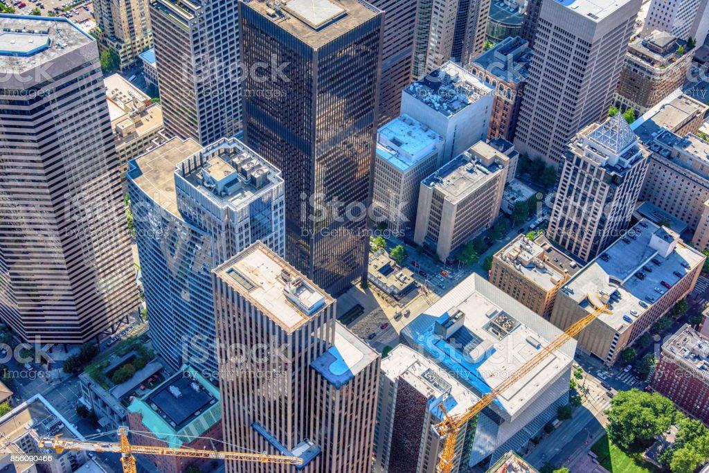 Downtown Urban Aerial stock photo