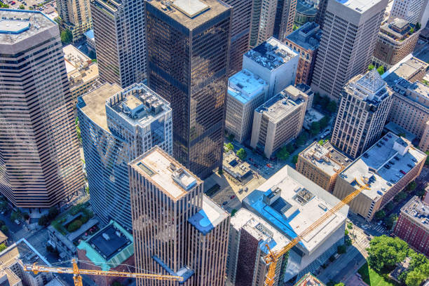 downtown urban aerial - generic location stock pictures, royalty-free photos & images