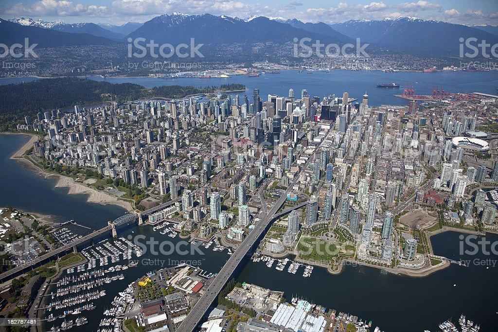 Downtown Vancouver Aerial View stock photo