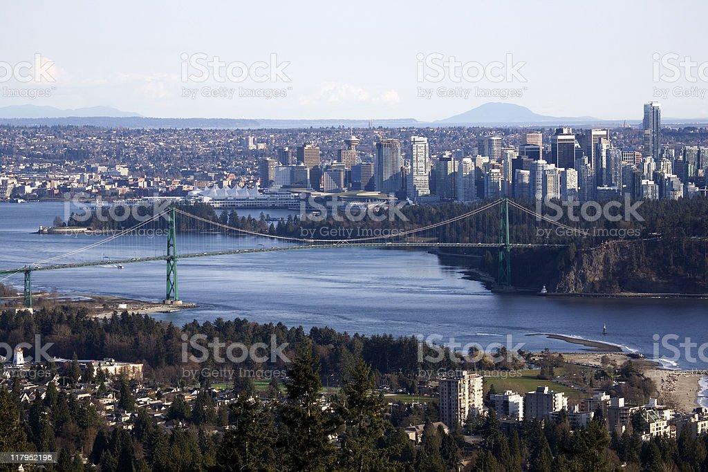 Downtown Vancouver and lion gate bridge stock photo