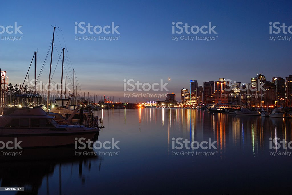 downtown vancouver at dawn with crescent moon royalty-free stock photo