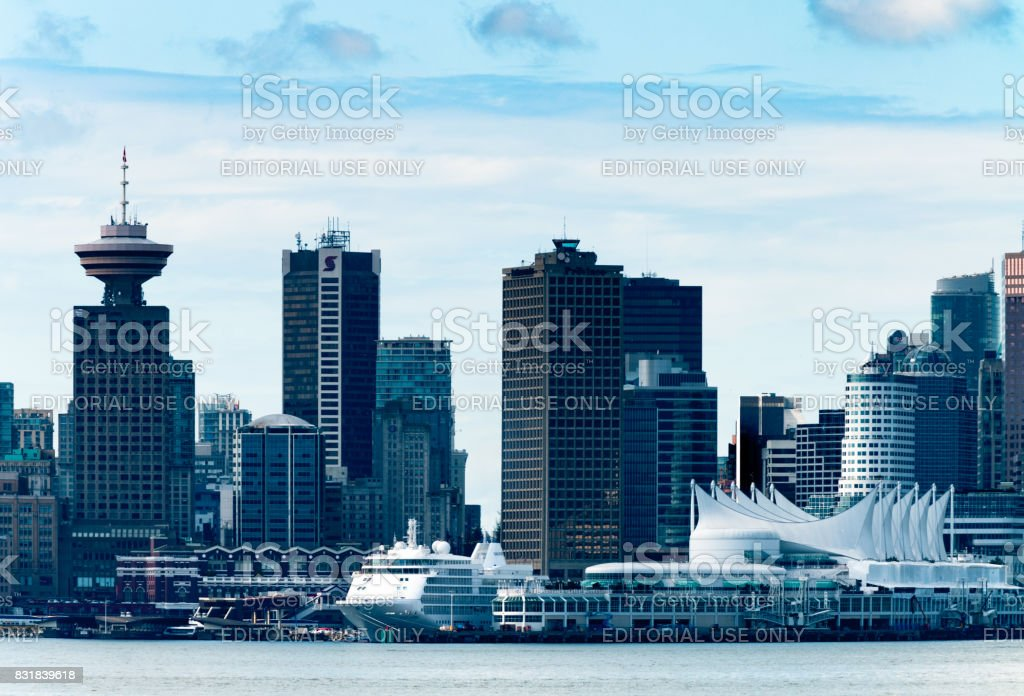 Downtown Vancouver, BC across Burrard Inlet daytime stock photo