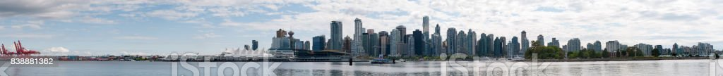 Downtown Vancouver, BC skyline on a summer day across the water from Stanley Park. stock photo