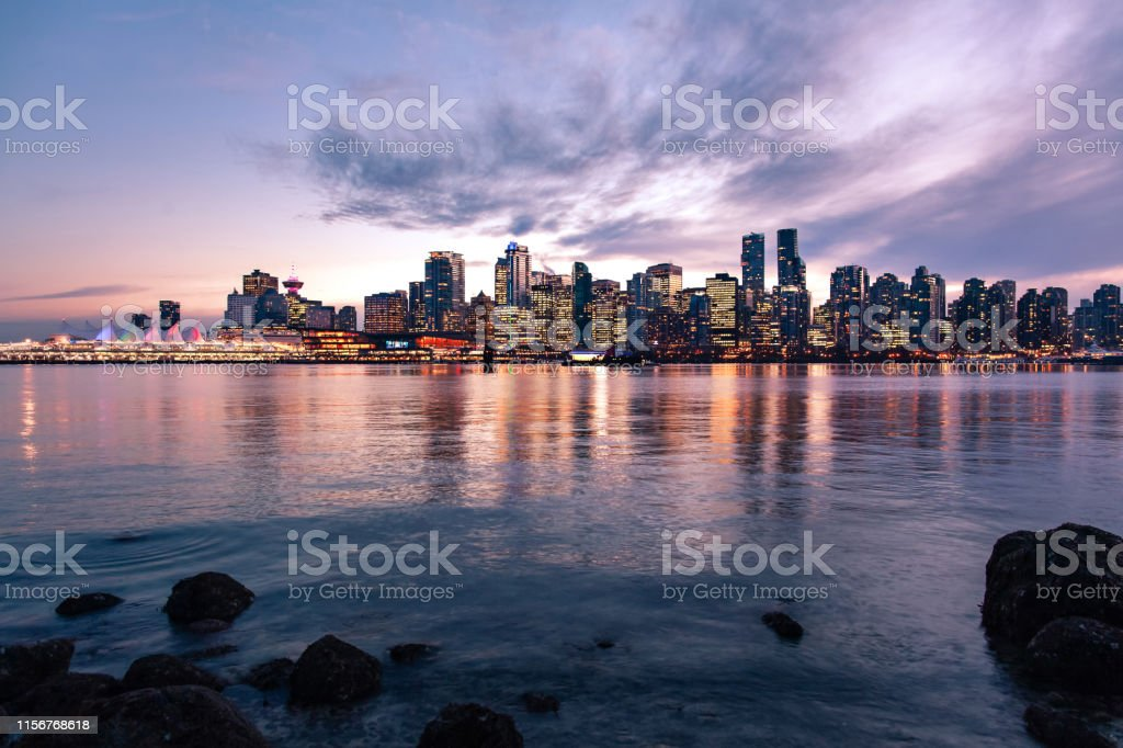 Downtown Vancouver city skyline at sunset