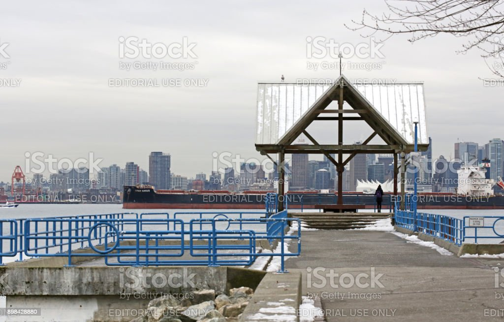 Downtown Vancouver Cityscape and Burrard Inlet in British Columbia, Canada stock photo