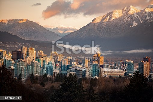 Downtown Vancouver cityscape from Queen Elizabeth Park at winter