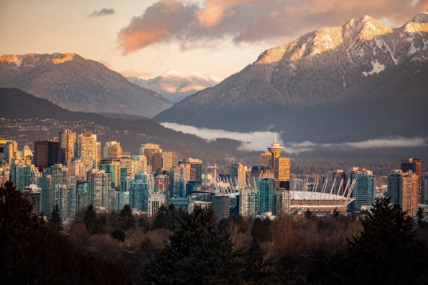 Downtown Vancouver cityscape from Queen Elizabeth Park at winter stock photo