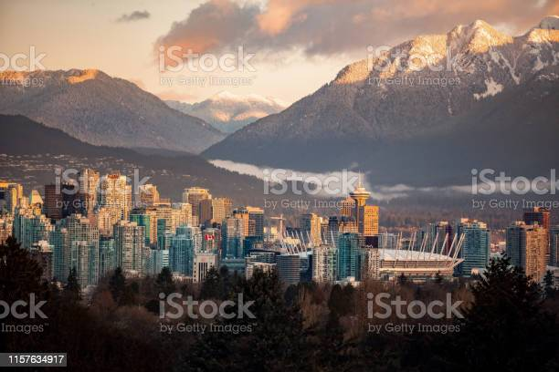 Photo of Downtown Vancouver cityscape from Queen Elizabeth Park at winter