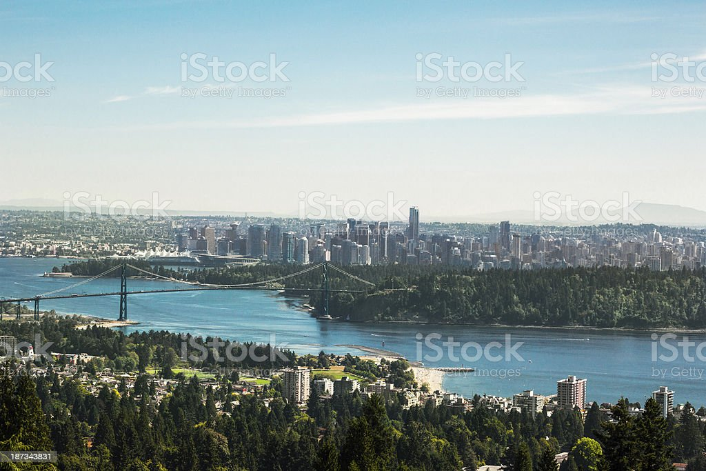 Downtown Vancouver, Lions Gate Bridge and the harbor stock photo