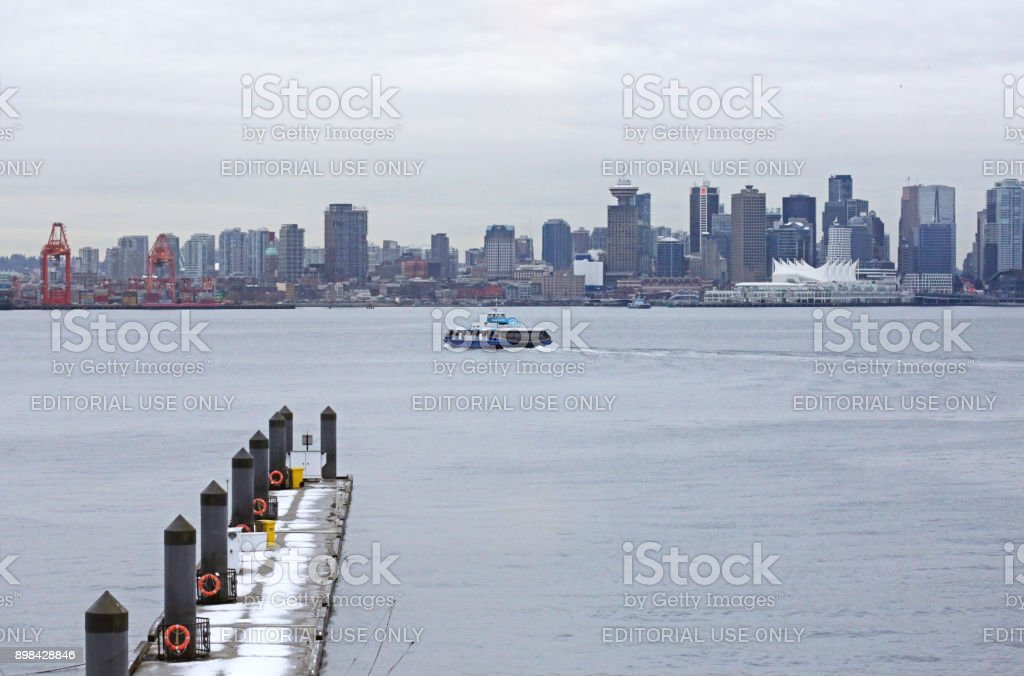 Downtown Vancouver Skyline and Burrard Inlet in Winter stock photo