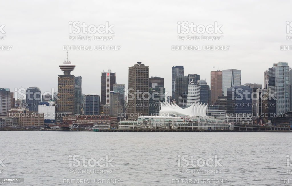 Downtown Vancouver Waterfront and Burrard Inlet, British Columbia, in Winter stock photo