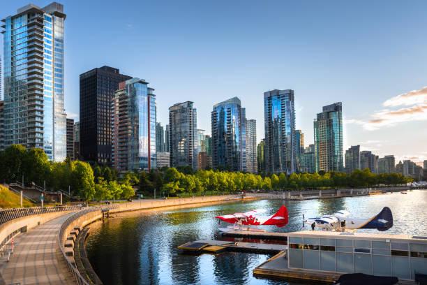 Downtown Vancouver Waterfront bei Sonnenuntergang – Foto