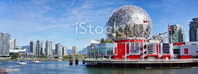 Vancover, British Columbia, Canada - May 7,2019 - Downtown Vancover showing the Telus Science Center sometimes call Science World which was open in 1982.