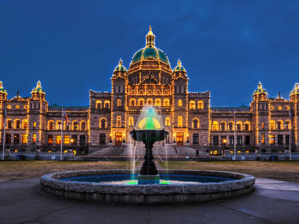 downtown victoria bc at christmas time - british columbia stock photos and pictures