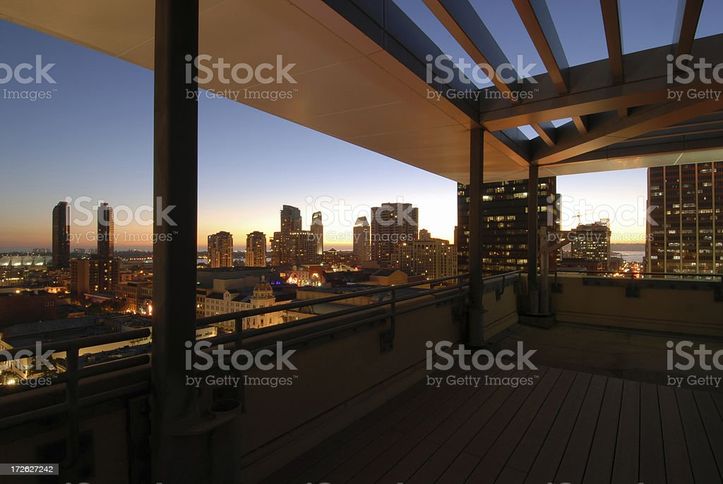 Downtown view at sunset time from a balcony deck royalty-free stock photo
