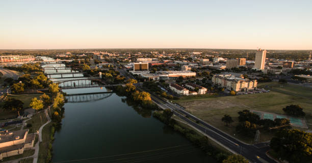 Downtown Waco Texas River Waterfront City Architecture stock photo
