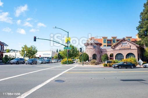 Walnut Creek, California, United States - September 27, 2019:  Cars, shops and Main Street are visible in downtown Walnut Creek, California, September 27, 2019