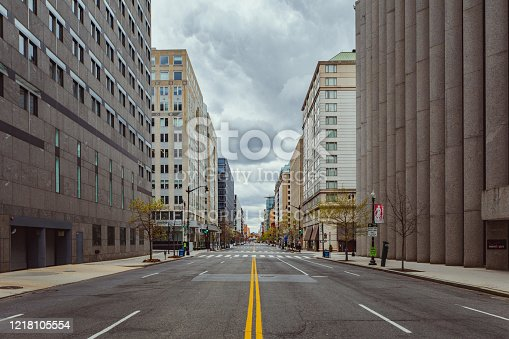 Downtown, Washington DC is empty during the COVID-16 global pandemic.