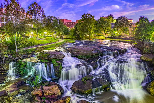 Downtown Waterfall in Greenville South Carolina SC Reedy River Falls Waterfall in Downtown Greenville Falls Park liberty bridge budapest stock pictures, royalty-free photos & images