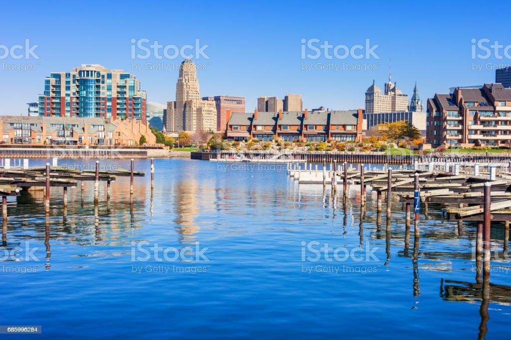 Downtown waterfront in Buffalo USA stock photo