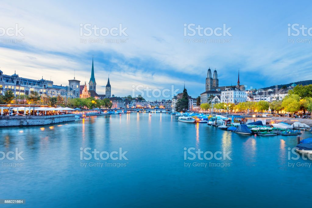 Downtown waterfront in Zurich Switzerland stock photo