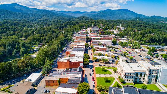 Downtown Waynesville North Carolina NC Drone Skyline Aerial.