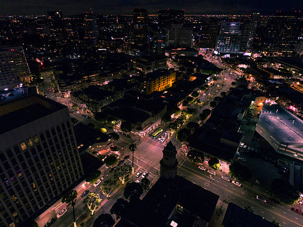 Downtown Westwood Aerial View of Westwood, CA ucla medical center stock pictures, royalty-free photos & images