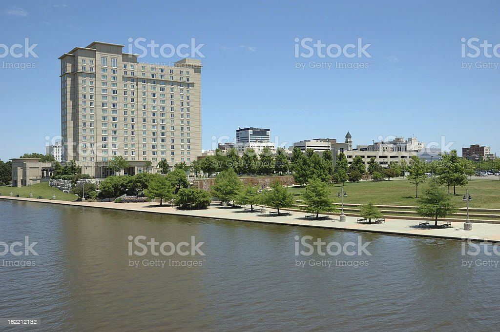 Downtown Wichita and the River Walk stock photo