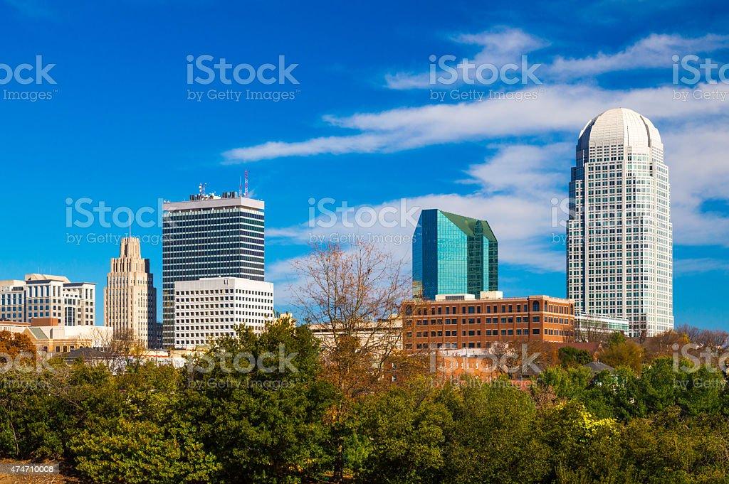 Downtown Winston-Salem skyline stock photo