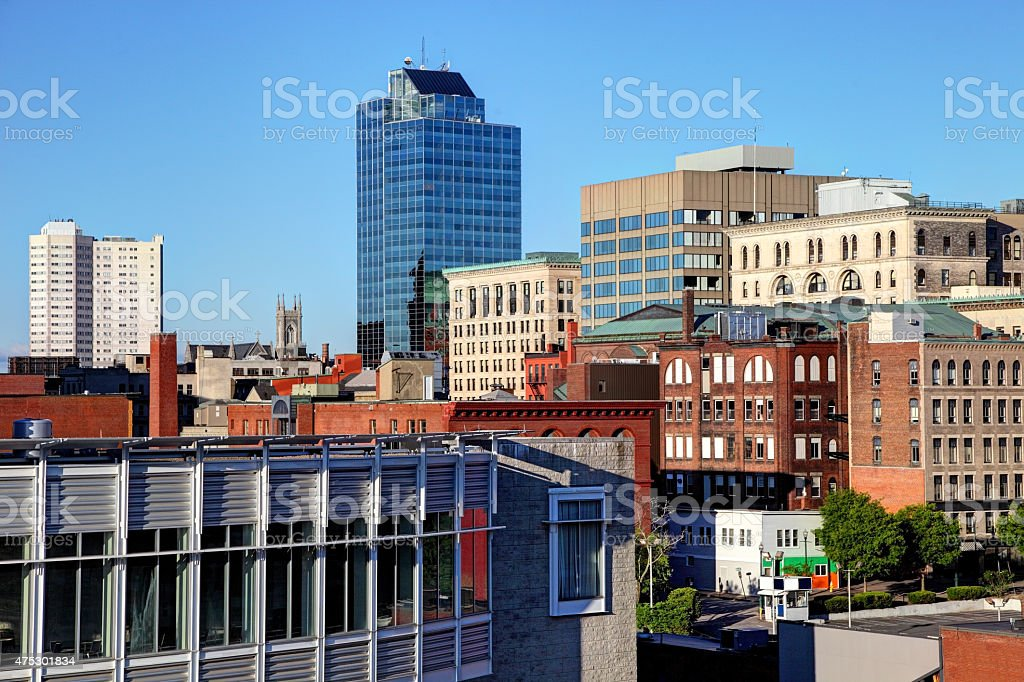 Downtown Worcester Massachusetts stock photo