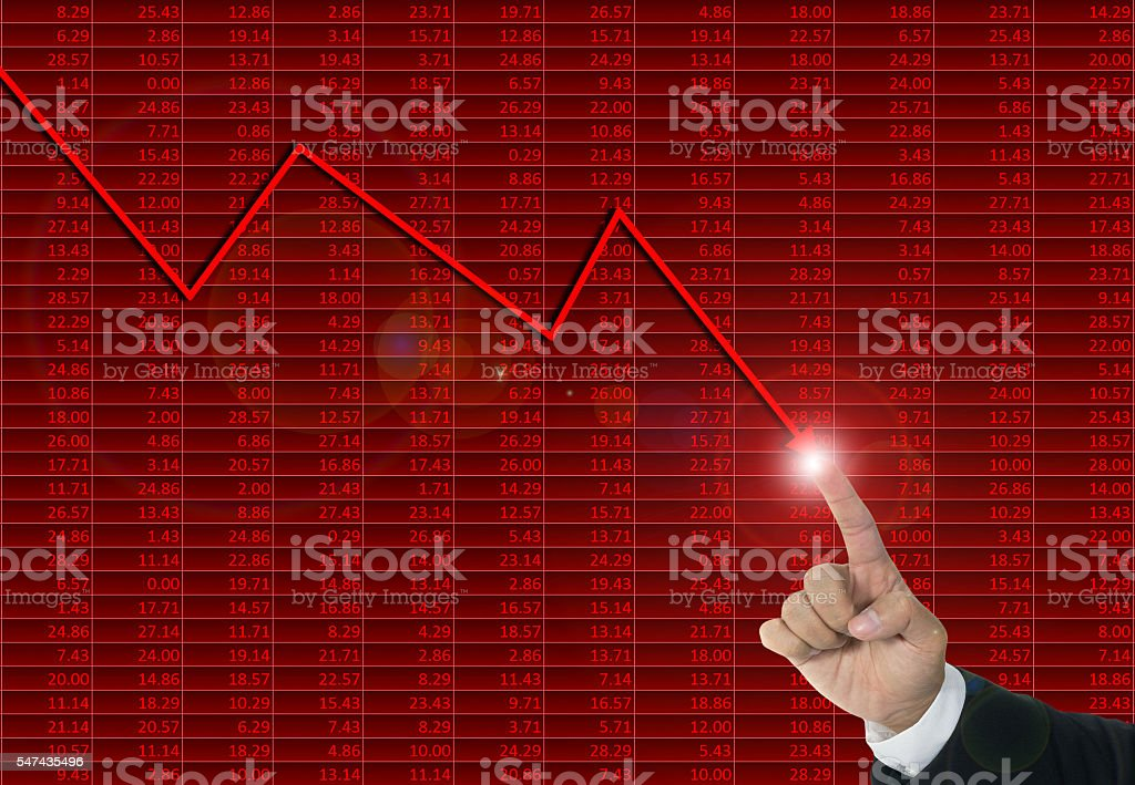 Downtrend financial chart, stop loss concept stock photo