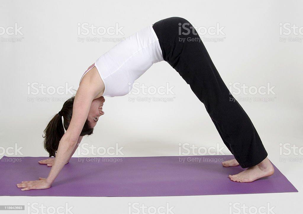Downward dog yoga pose royalty-free stock photo