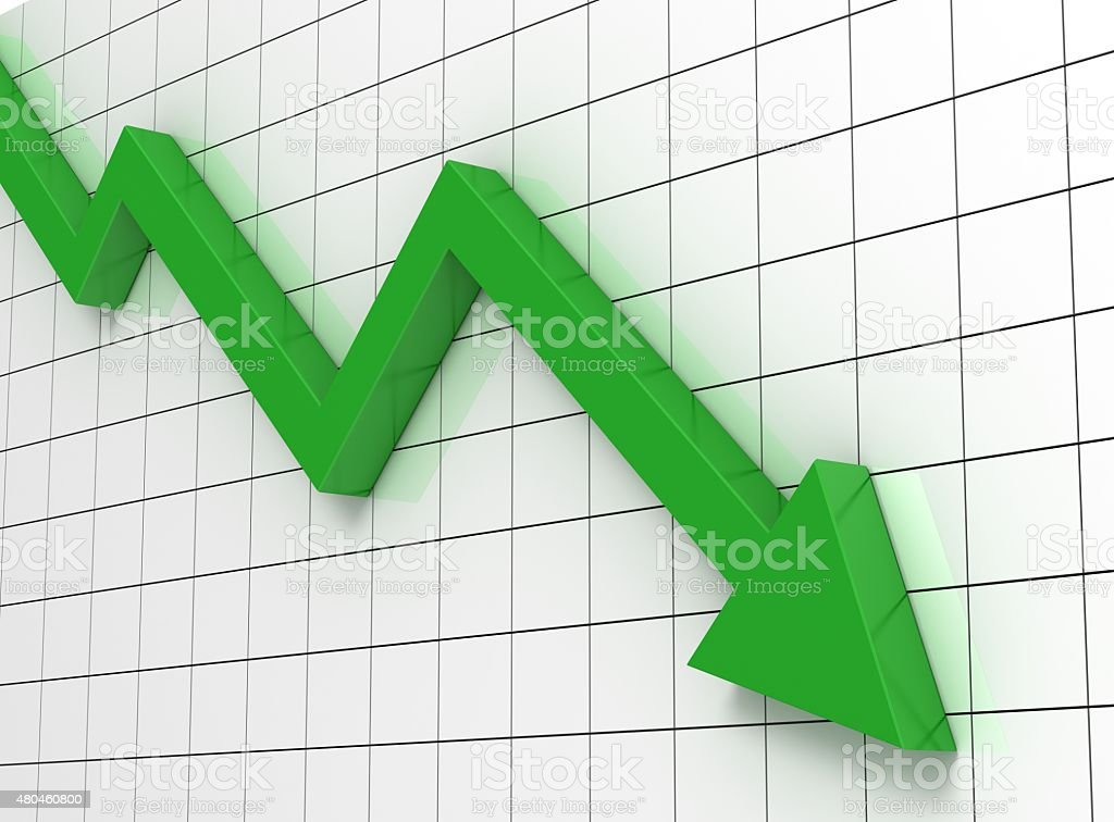 downward graph stock photo