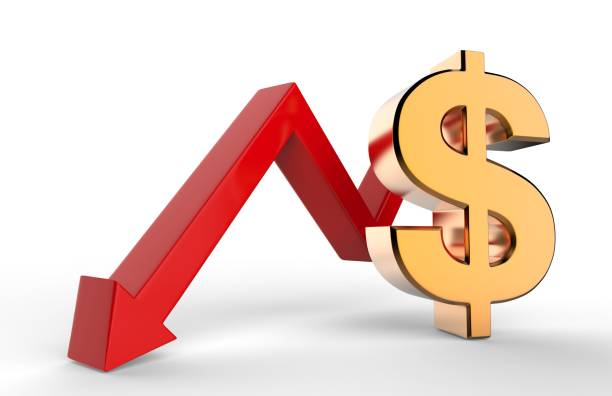 downward growth arrow with 3d dollar symbol sign. economic recession concept. 3d illustration. - loss stock photos and pictures