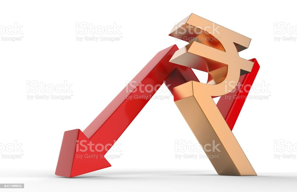 Downward growth arrow with 3d rupee symbol sign. Economic recession concept. 3d illustration. stock photo