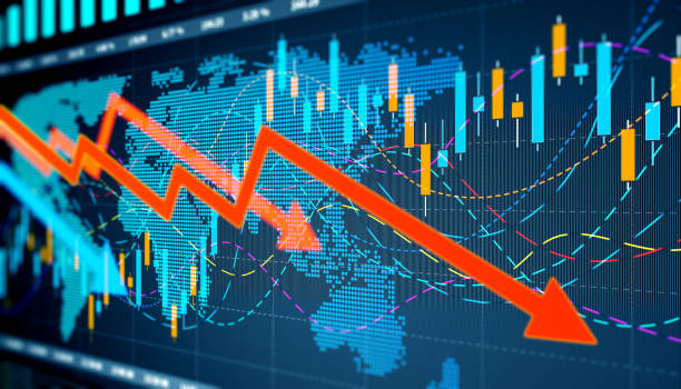 Downwards Business graph and charts stock photo