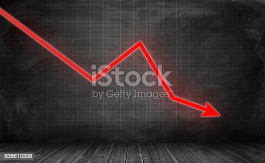 istock Downwards glowing red arrow on grey statistic grid background 638610308