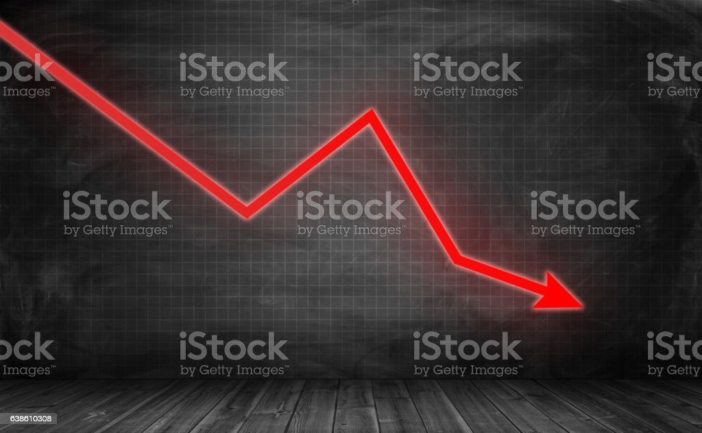 Downwards glowing red arrow on grey statistic grid background - foto de stock
