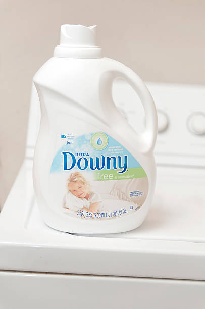 Downy Free Fabric Softener on Top of Washer stock photo