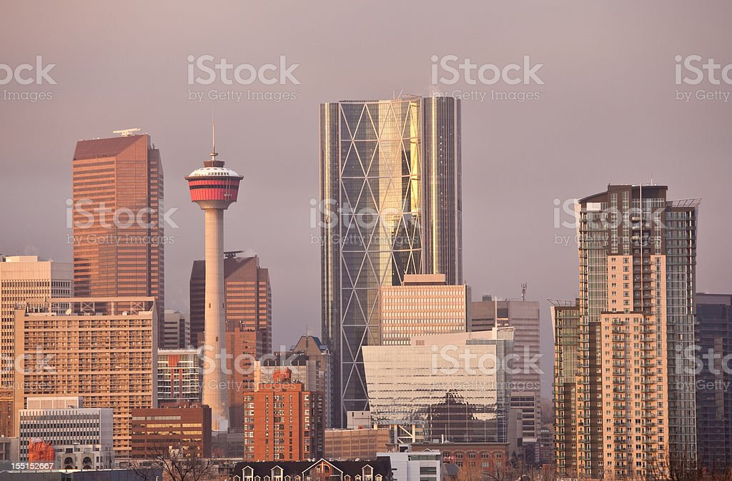 Dowtown Calgary and Bow Tower stock photo