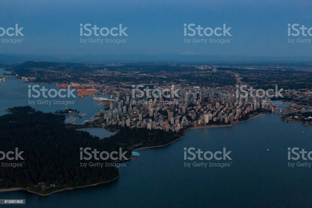 Dowtown Vancouver Aerial stock photo