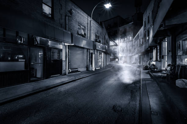 Doyers Street by night Moody monochrome view of Doyers Street by night, in NYC Chinatown. The bend became known as